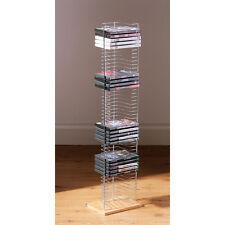 DVD da pavimento base legno Rack finitura cromata può contenere fino a 50 DVD di archiviazione NUOVO