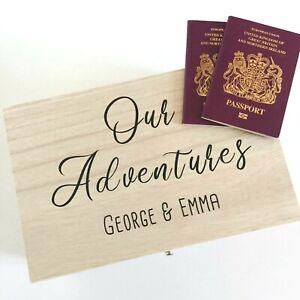 Personalised Wooden Our Adventures Keepsake Box - Wedding Honeymoon Memory Box