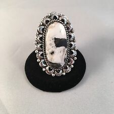 Navajo White Buffalo Turquoise & Sterling Silver Ring Size 8 Signed