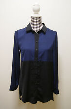 BARDOT TOP BLUE BLACK SHIRT TOP, Sz 8