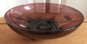 "Vintage Hazel Atlas Glass Moroccan Amethyst Purple Serving Bowl  Large 11"""