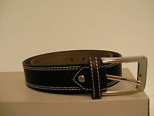 Genuine Buffalo leather black belt adjustable double stitch's size 44 inch