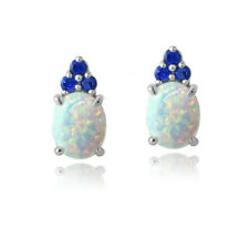 925 Silver Lab Created White Opal & Blue Sapphire Oval Drop Earrings