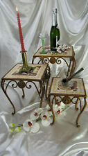 French Vintage Wrought Iron Nesting Set Tables Tiles Metal Victorian Side