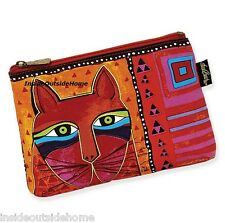 Laurel Burch Makeup Bag Whiskered Red Orange Cat Face Organizer Art Craft Pencil