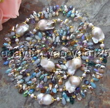 H041801 49'' 25MM Purple Keshi Pearl Multi Color Crystal Necklace
