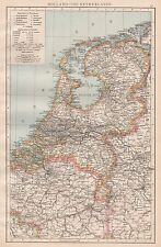 1896  LARGE ANTIQUE  MAP : HOLLAND : THE NETHERLANDS