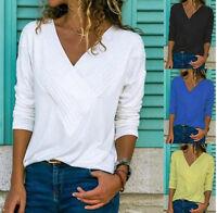 Fashion Womens V-Neck Chiffon Blouse Shirt Long Sleeve Casual Loose Tops T-Shirt