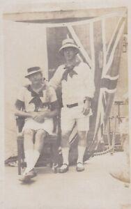 OLD PHOTO SHIP MEN DRESSED WOMAN LONG HAIR FLAG UNION JACK AUSTRALIA W4