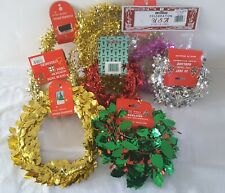 225 Feet Lot of 9 Wire Tinsel Garland Packs Assorted Colors and Types All New