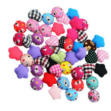 50pcs Cloth Fabric Covered Sewing Buttons Cards Embellishments for DIY Craft