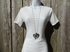 Extra Long Silver Heart Necklace Big Large Pendant Womens Chain Inches New