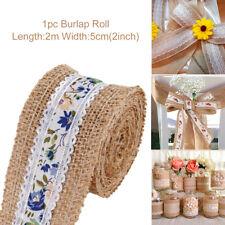 5cm*10m Natural Jute Burlap Ribbon Fabric Roll Hessian Trims Tape Rustic DIY KY