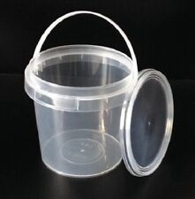 1Ltr Plastic Buckets Tubs Containers with Lids Food grade CLEAR 1000ML European