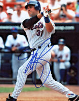 Mike Piazza Signed 8x10 New York Mets Photo - MLB Pinstripe Swing PSA/DNA COA