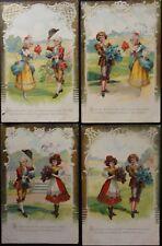 More details for french set of 4 postcards - echanger des bouquet - pub by salve c c1904