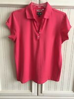 Adidas Women's ClimaCool Pink Short Sleeve Collar Athletic Shirt Top Size Large