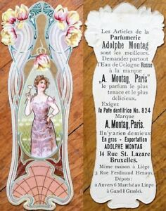 Art Nouveau 1890 Perfume/Parfumerie Adolphe Montag- Paris Trade Card/Bookmark- 8