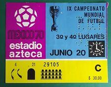 Coupe du Monde 1970 Mexique utilisé match ticket. l'Allemagne de l'ouest Vs URUGUAY troisième place