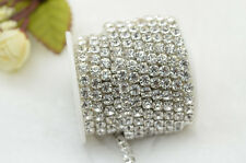 5 Yard Large 5.2mm close crystal rhinestone chain custom wedding trim silver