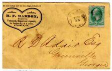 1880's Atlanta Georgia Cover to Greenville - Tobacco Sugar Liquor Store