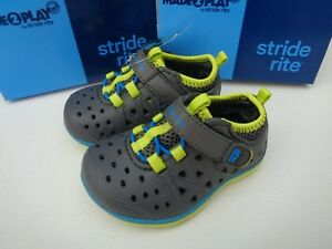 NEW Stride Rite Made 2 Play Phibian Boys Water Shoes Toddler Gray Light Green 4