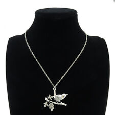 9-2 Silver Alloy Aniaml Bird In Branch Pendant Short Chain Collar Necklace 18""