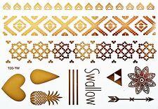 Tattoo Einmal Flash Klebe Temporary Gold 11teile Armband Body Kette Hals WF7