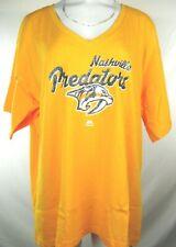 Nashville Predators Sparkle Logo Women's Yellow S/S V-neck Fanatics Tee NHL 2X