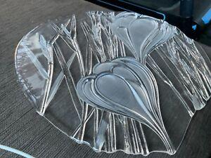 36cm diam CUT GLASS reverse pattern CHEESE or ENTREE PLATTER Undamaged Like new