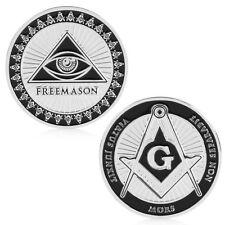Masonic Freemason Silver Plated Commemorative Coin Token Collectible Physical