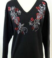 PLUS 2X Hand Embellished Rhinestone Red Heart Swirls Valentine's Day Top