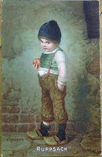 H. Kaulbach/Artist-Signed 1910 Color Litho Postcard of Boy - 'Ruppsack'