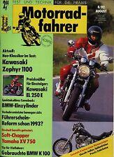 Motorradfahrer 8/92 1992 MZ 500 R Gespann Indian XV 750 Virago Zephyr BMW K 100