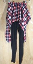 Plaid Skirt Leggings Korean Fashion Black Skinny Pants