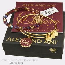 Authentic Alex and Ani Believe Set of 2, WINE Shiny Gold Charm Bangle Set of 2