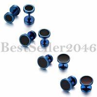 8pcs Men Women Stainless Steel Ear Plugs Tunnel Barbell Stud Earrings 6-12MM Set