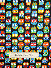 FLANNEL ~ Owl Birds Black Cotton Fabric ~Timeless Treasures CF8366 By The Yard