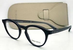 New GIORGIO ARMANI Eyeglasses AR 7159 5017 50-22 Black & Blue Round Style Frames