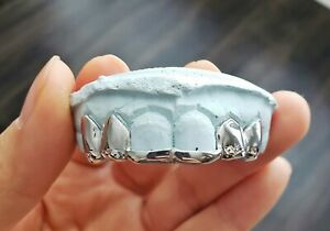 6 PCS- S. Silver or 10K Solid White Gold Custom 2 Bars Grill Grillz