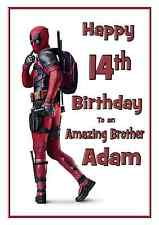 deadpool personalised A5 birthday card son brother nephew grandson name age