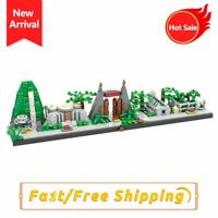 MOC New Jurassic Dinosaur World Park Skyline Tree Forest Animal Building Bricks