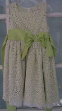Girls size 4 lace overlay dress bow rear ties light green summer casual EUC