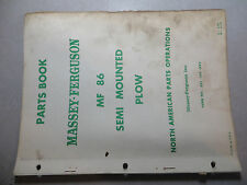 Massey Ferguson 86 Semi Mounted Plow Parts Book