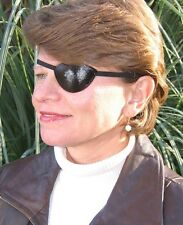 LEATHER HALF OVAL EYE PATCH - QUALITY CUSTOM MADE FOR RIGHT EYE