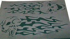 2in1 S8 A4 Fuego Llamas Calaveras aerógrafo de plantilla de máscara Plantilla Textil Pintura Artesanía