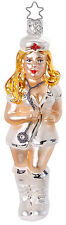 Sexy Nurse NOTHING HURTS Glass Ornament Inge Made in Germany NEW IN BOX