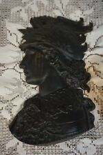 VTG ROMAN GUARD HEAD BUST BLACK BRONZE FINISH WALL PLAQUE SCULPTURE WALL RELIEF