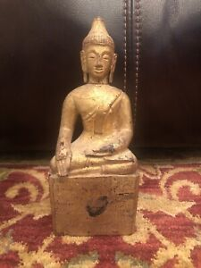 Antique Burmese Wooden Gilded Seated Buddha with Relic Compartment