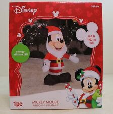 NEW GEMMY Disney MICKEY MOUSE Santa Lighted Christmas Airblown Inflatable 42""